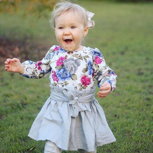 Bow jupe robe costume 2PCS bébé Enfants Filles à Manches Longues Floral Ange Tops