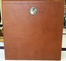 Smooth Saddle Brown Leather 2 3 Ring Binder Pewter Arabian Horse Head Concho
