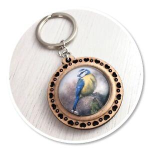 Blue tit Wooden  keyring key ring garden bird