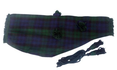 Scottish Black Watch//Mackenzie//Royal Stewart Bagpipe Set Cover /& Cord in Various