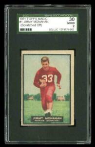 Rare 1951 Topps Magic #1 Jimmy Monahan Football Rookie RC Card SGC 30 / 2 GD