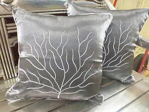 Cotton-Cushion-Covers-Metallic-Grey-White-Hand-Made-Tree-Embroidery-pair-40cm