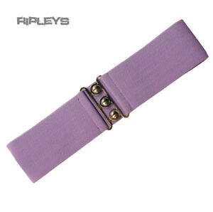HELL-BUNNY-Retro-50s-Waist-BELT-Rockabilly-Elasticated-Lavender-Purple-All-Sizes
