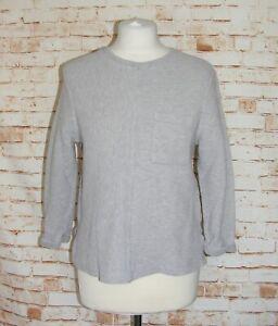 River-Island-jumper-size-14-textured-ribbed-3-4-sleeve-snug-fit-light-grey