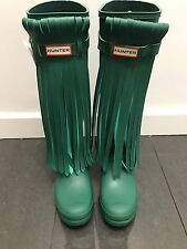 Hunter Limited Green Fringed Rubber Rain Boots US 8 UK 6 EU 39 New Gummistiefel❤