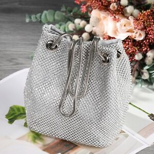 Details About Women Wedding Evening Bag Silver Rhinestone Bucket Crystal Clutch Party