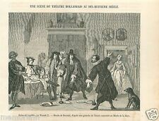 Theater Théâtre Troost Den Haag Museum Netherlands Pays-Bas GRAVURE PRINT 1862