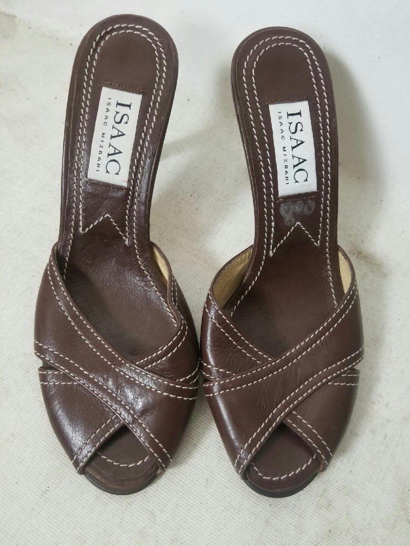 le migliori marche vendono a buon mercato ISAAC MIZRAHI Marrone LEATHER LEATHER LEATHER OPEN TOE donna HEELS scarpe, Dimensione 6 M  consegna veloce