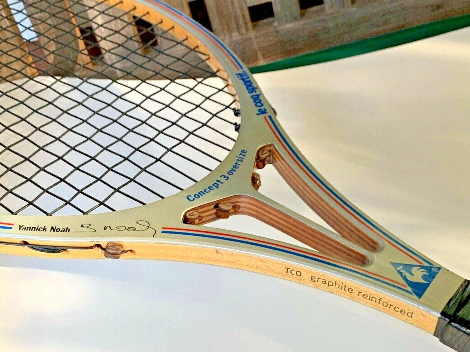 Vtg le coq sportif Yannick Noah Concept 3 overGröße split wood tennis racquet TCO