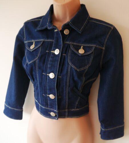 Womens Cropped Denim Jacket Coat Size 6 8 10 12 New Ladis Indigo Blue Cotton mix