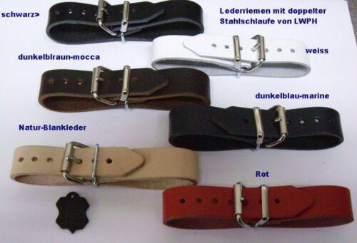 4 Leather Straps Dark Brown 22,0 x 2,0 cm Double Metal Buckle DDR Zekiwa Kindw
