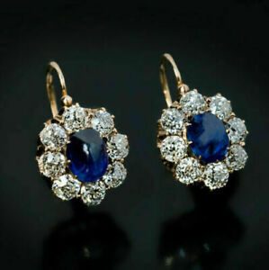 2-30-Ct-Oval-Blue-Sapphire-amp-Diamond-Hoop-Huggie-Earrings-14K-Yellow-Gold-Over