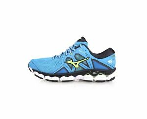 Mizuno-Wave-Sky-2-2E-Men-039-s-Running-Shoes-Blue-Bright-Green-J1GC181137-A-19J