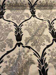 Lyra Black Gray Damask Linen Teflon Drapery Upholstery Fabric by the yard