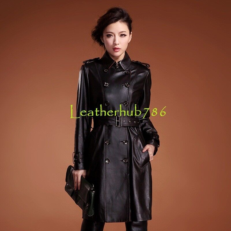 New Women Knee Length Trench Coat Genuine Lambskin Leather Party Casual Wear 183