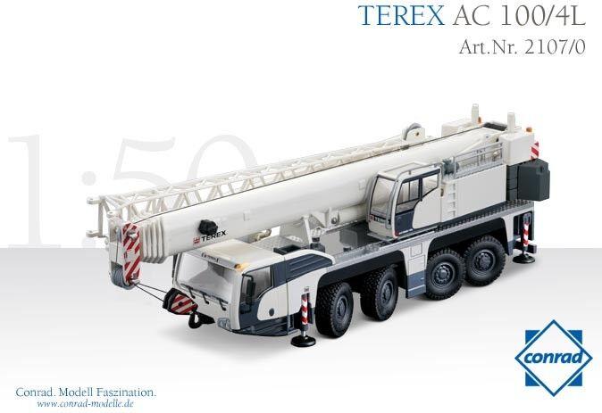 Conrad 21070 Terex AC1004L telescopico Gru mobile DIECAST 150 Nuovo di zecca con scatola