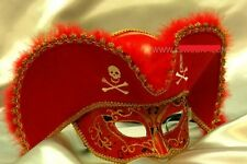 Mens Light Pirate Hat Theater Mardi Gras Venetian Masquerade Mask - Red/Gold