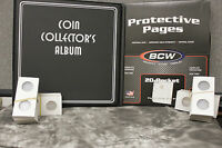 Deluxe Silver Dollar Coin Collector Kit Binder Album Pages 200 Holders Flips