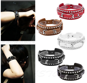 Punk-Leather-Bracelet-Rock-Stud-Chain-Cuff-Bangle-Adjustable-Wristband-Bracelet