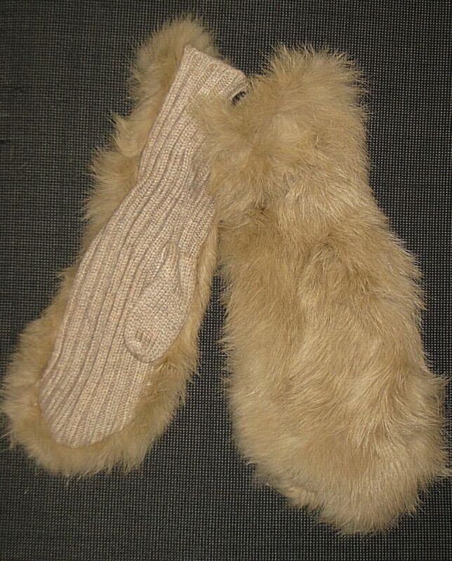 Selfless New Nwt $78 Echo Design Beige Rabbit Fur Cashmere Wool Winter Mittens Women's Os