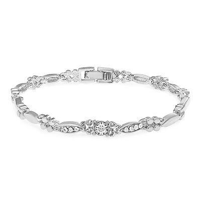 Mahi Eita Collection White Rhodium Plated Crystal Bracelet For Women BR1100227R