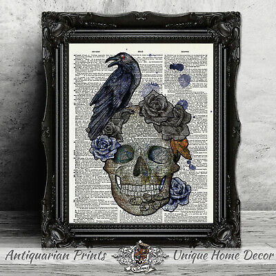 Original ART Print DICTIONARY ANTIQUE BOOK PAGE King Skull Diamond Wall Hangings