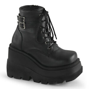"Demonia SHAKER-52 Black 4 1/2"" Stacked Wedge Platform  Ankle Boot Buckle Straps"