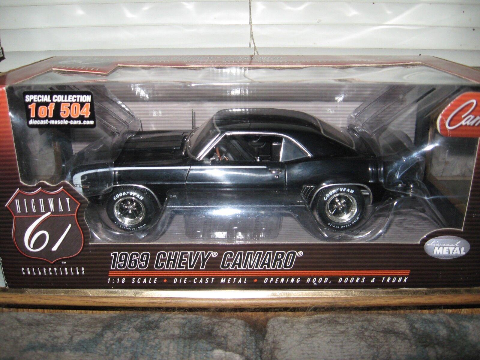 1:18 carretera 61 1969 Chevy Camaro RS396 Negro Esmoquin con ruedas de color a juego