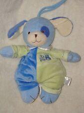Prestige Plush Musical Puppy Dog Blue & Green Stuffed Baby Crib Pull Toy Train