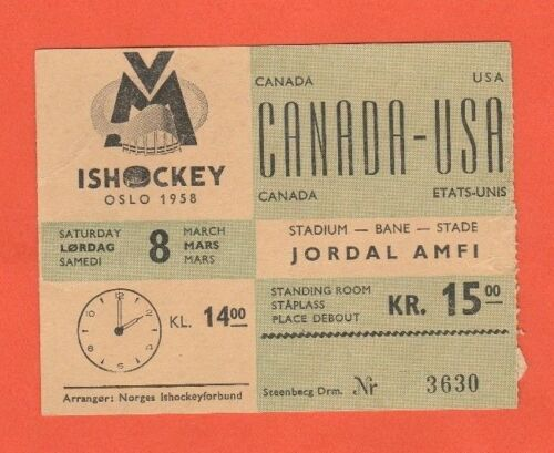 Norwegen USA  ! Orig.Ticket    Eishockey WM OSLO 1958   CANADA RARITÄT