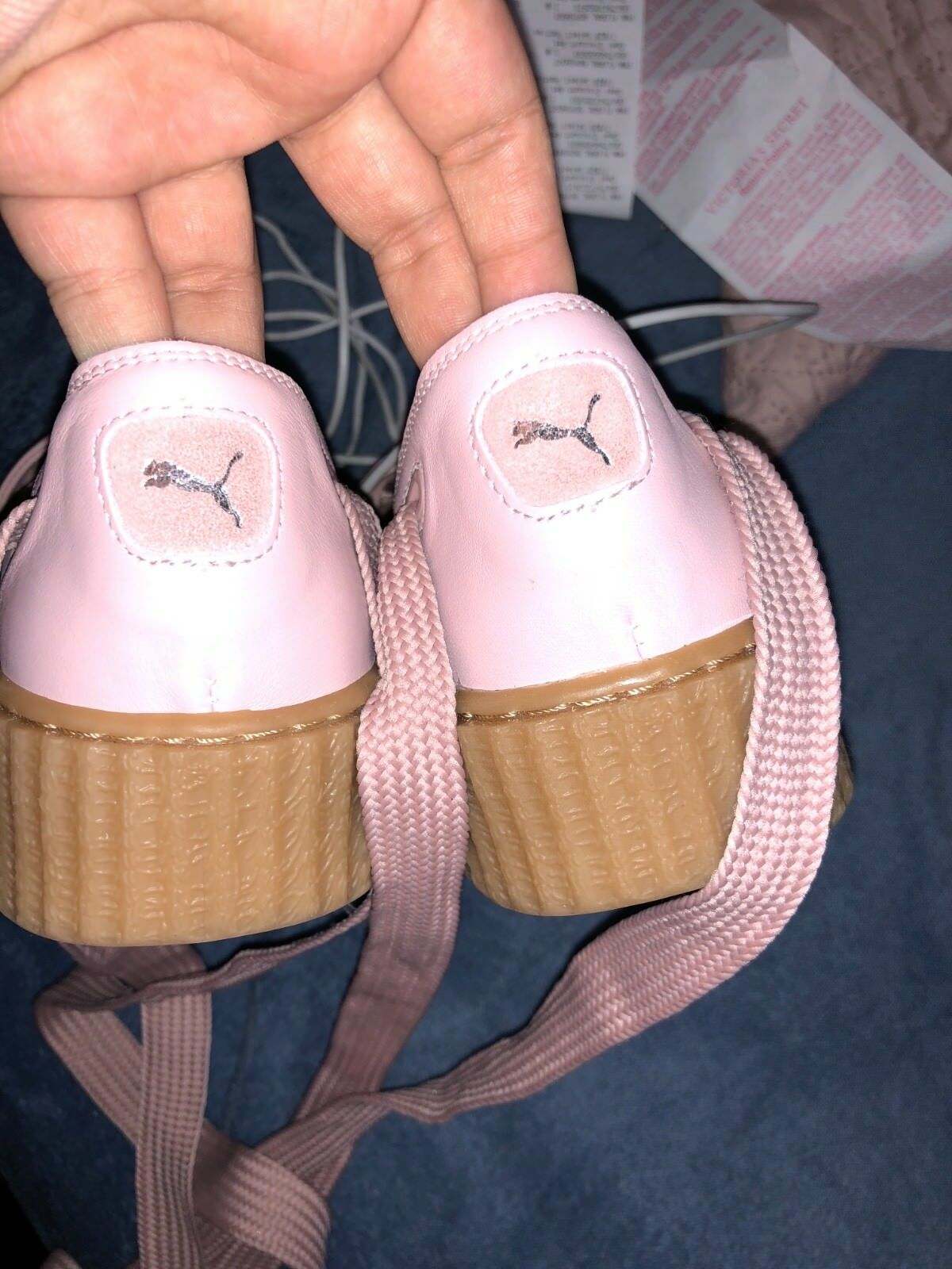PUMA Fenty by Rihanna Pink Pink Pink Bow Creepers Lace Up Platforms Sandals shoes Size 8 63ed04