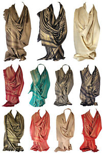 Dull-Gold-Shimmer-Stripes-Abstract-Print-Scarf-Wrap-Shawl-Stole-Head-Scarves