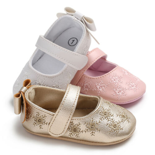 Newborn to 18 Baby Girl Crib Shoes Faux Leather First Shoes Princess Dress Shoes
