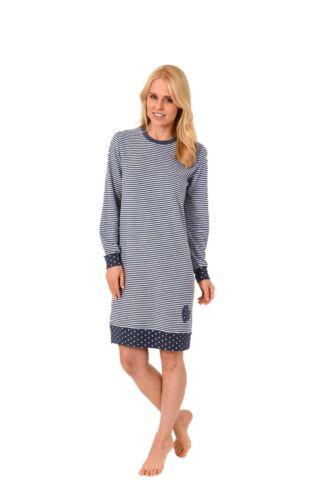 Damen Frottee Nachthemd mit Tupfen Punkten Streifen Bündchen Rundhals 59368n