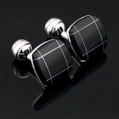 XK-307 Stainless Steel Black Zircon Men Wedding Cufflinks Gift Box FREE SHIPPING