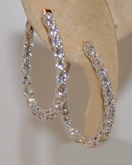 3.35CT DIAMOND HOOP EARRINGS IN 18KT WG SET IN PRONGS