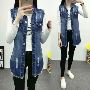 Casual Women Sleeveless Blue Denim Vest Jean Jacket Waistcoat Tunic ... 06dd316d95