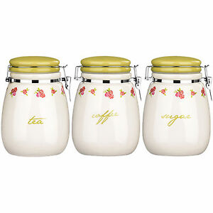Rose Cottage Tea Coffee And Sugar Canisters Clip Top Ceramic Kitchen