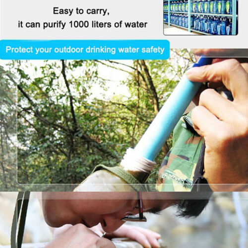 Military 99.99/% Water Filter Purification Emergency Gear Straw Camping Hik-JT