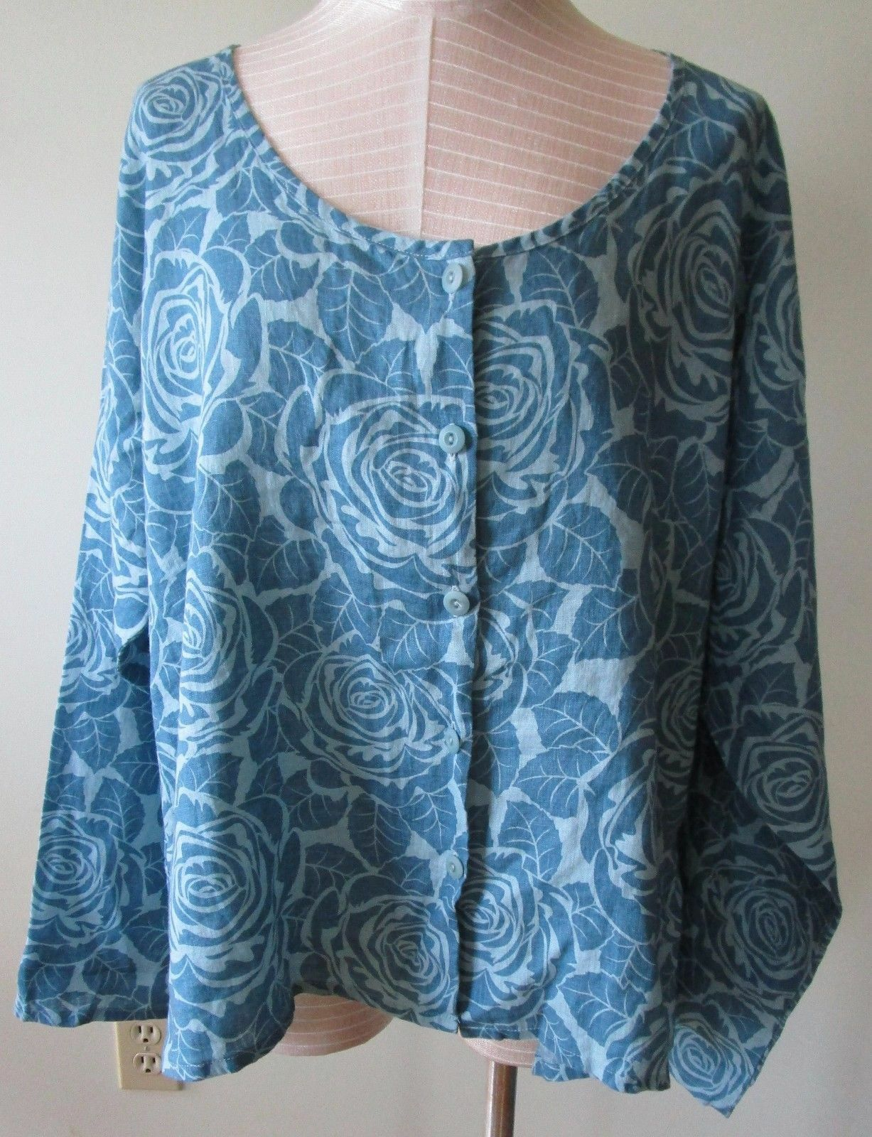 FLAX Designs    LINEN SHIRT    L     NWOT   Casual Blouse  BlauSTONE  CLEARANCE
