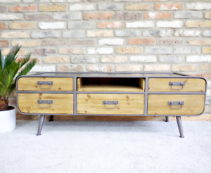 Image Is Loading Metal Low Tv Cabinet With Wood Shelf