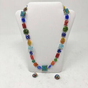 Venetian-Murano-Moretti-Millifiori-Lampwork-Art-Glass-Bead-amp-Sterling-925-Silve