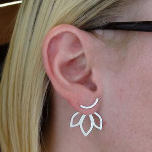 Image Is Loading Lotus Petal Ear Jacket Earrings 925 Sterling Silver