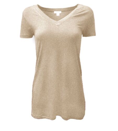 Basic Rayon Jersey V-Neck Short Sleeve Tunic Top S ~ XL