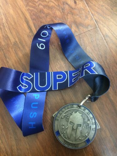 New 2019 Spartan Race Spartan Super Finishers Medal with Trifecta Wedge