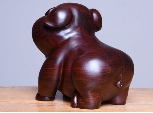 Pair Black Ebony Wood Carved Pig Statue Craft Boutique Hog Art Gift Table Decor