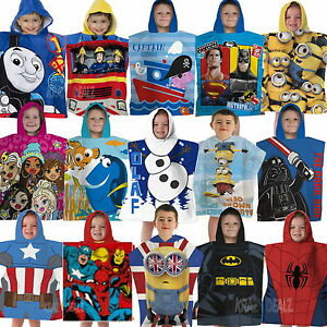 Official-Licensed-Character-Cotton-Ponchos-Hooded-Towels-Boys-Girls-Kids-Gift