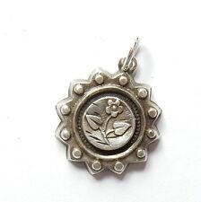 Antique Victorian 925 Silver HOLLOW PUFFED REPOUSSE DAISY FLOWER Charm 0.7g