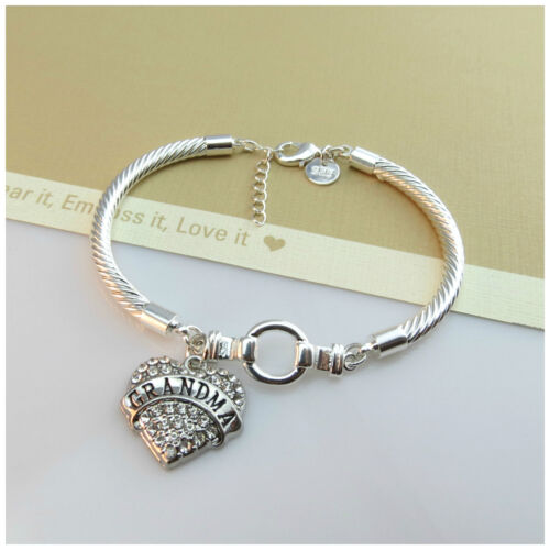 New Arrival 925 Silver Plated Bracelet With Crystal GRANDMA Charm Desgin
