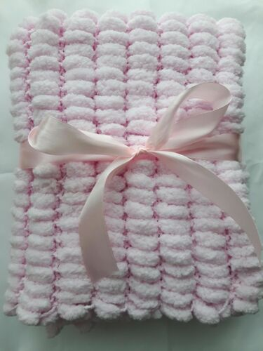 HANDKNITTED PINK MARSHMALLOW POMPOM BABY BLANKET CHOICE OF 3 SIZES